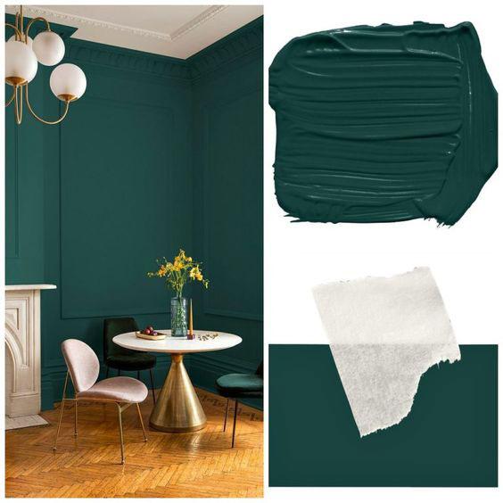zelene boje za zidove - primer u postoriji