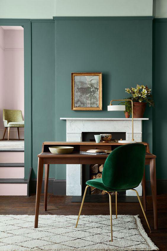 zelene boje za zidove u enterijeru