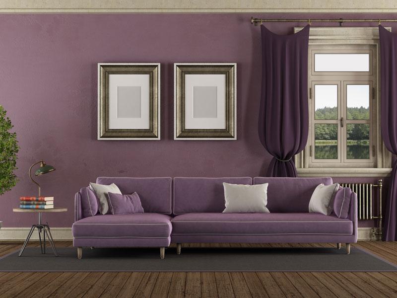 Ljubičasta boja za unutrašnje zidove, trend u 2021. godini