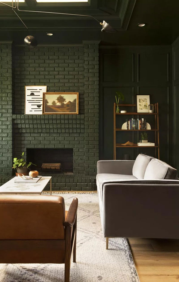 Soba u maslinasto zelenoj boji koja predstavlja jednu od najpopularnijih boja za zidove
